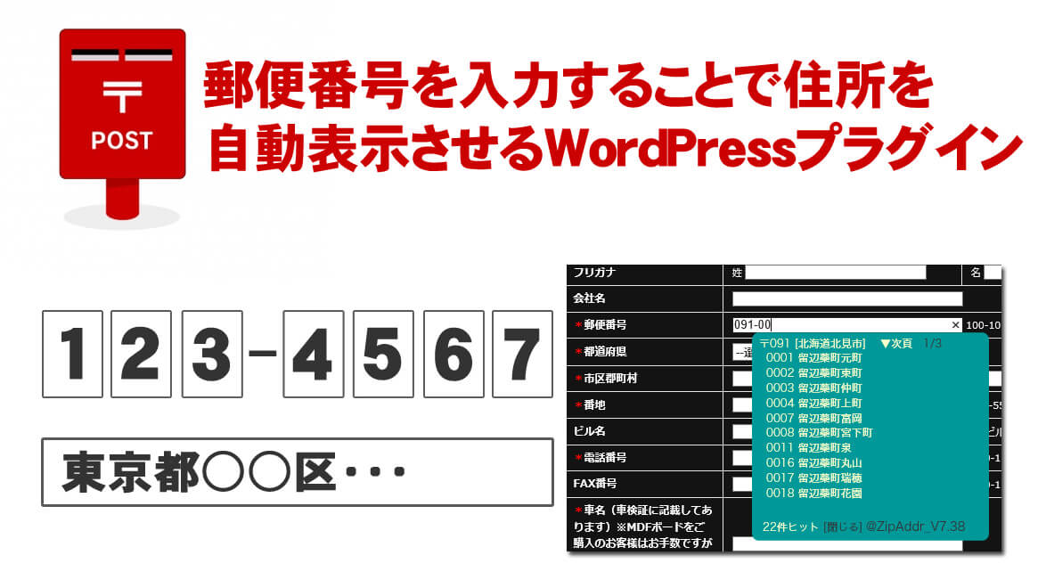 郵便番号を入力することで自動的に住所が表示されるWordPressプラグイン